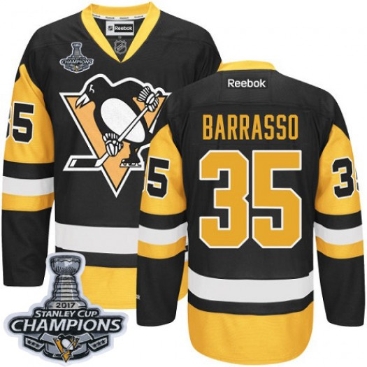 Tom Barrasso Pittsburgh Penguins Men's Reebok Authentic Black/Gold Third 2016 Stanley Cup Champions Jersey