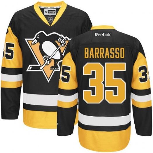 Tom Barrasso Pittsburgh Penguins Men's Reebok Authentic Black/Gold Third Jersey