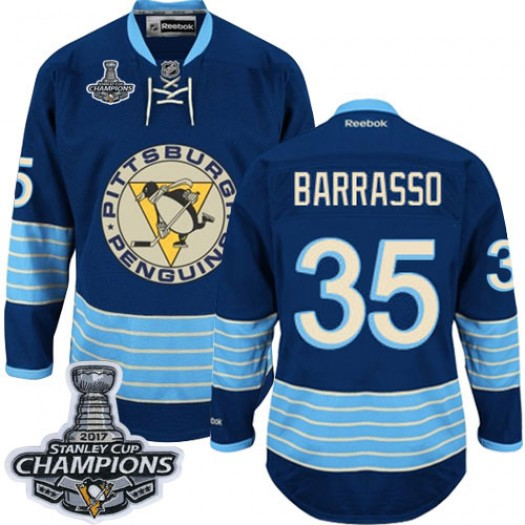 Tom Barrasso Pittsburgh Penguins Men's Reebok Authentic Navy Blue Third Vintage 2016 Stanley Cup Champions Jersey