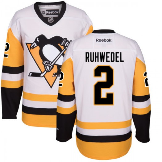 Chad Ruhwedel Pittsburgh Penguins Men's Reebok Replica White Away Jersey