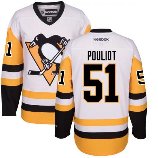 Derrick Pouliot Pittsburgh Penguins Men's Reebok Replica White Away Jersey
