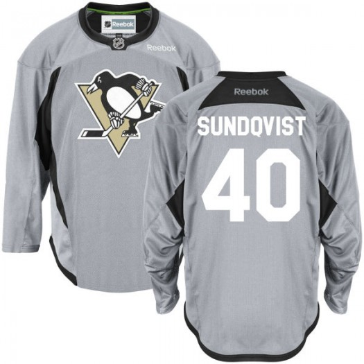 Oskar Sundqvist Pittsburgh Penguins Men's Reebok Premier Gray Practice Team Jersey