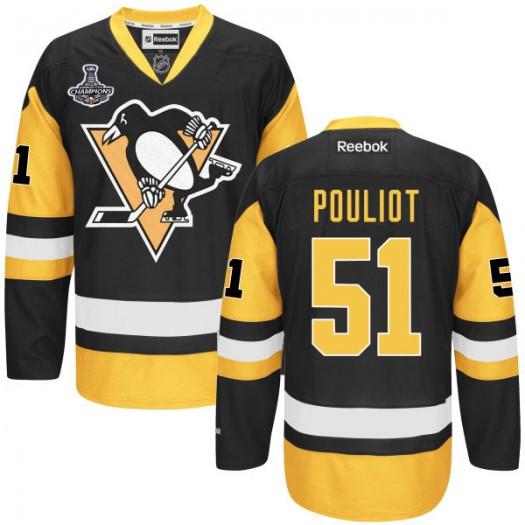 Derrick Pouliot Pittsburgh Penguins Men's Reebok Premier Black 2016 Stanley Cup Champions Jersey