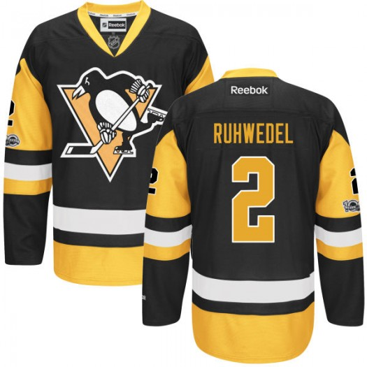 Chad Ruhwedel Pittsburgh Penguins Men's Reebok Premier Black Home Centennial Patch Jersey