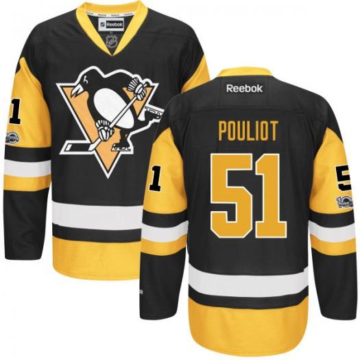 Derrick Pouliot Pittsburgh Penguins Men's Reebok Premier Black Home Centennial Patch Jersey