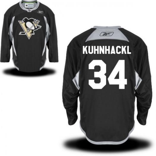 Tom Kuhnhackl Pittsburgh Penguins Men's Reebok Authentic Black Practice Alternate Jersey