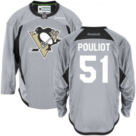 Derrick Pouliot Pittsburgh Penguins Men's Reebok Authentic Gray Practice Team Jersey