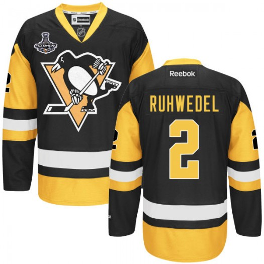 Chad Ruhwedel Pittsburgh Penguins Men's Reebok Authentic Black 2016 Stanley Cup Champions Jersey
