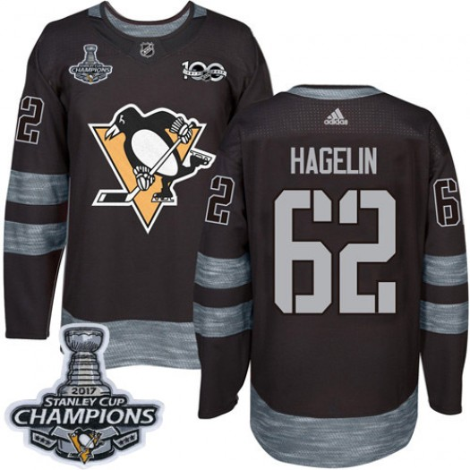 Carl Hagelin Pittsburgh Penguins Men's Adidas Authentic Black 1917-2017 100th Anniversary 2017 Stanley Cup Final Jersey