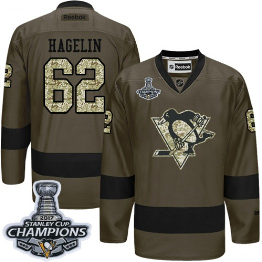 Carl Hagelin Pittsburgh Penguins Men's Reebok Authentic Green Salute to Service 2017 Stanley Cup Final Jersey