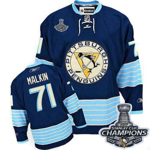 Evgeni Malkin Pittsburgh Penguins Youth Reebok Authentic Navy Blue Third Vintage 2017 Stanley Cup Final Jersey