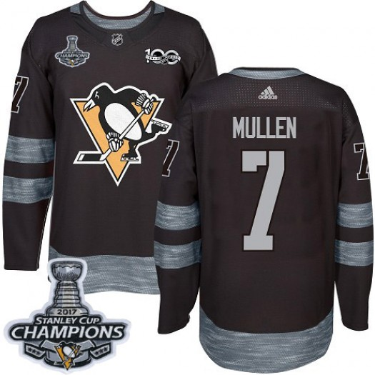 Joe Mullen Pittsburgh Penguins Men's Adidas Authentic Black 1917-2017 100th Anniversary 2017 Stanley Cup Final Jersey