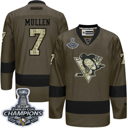 Joe Mullen Pittsburgh Penguins Men's Reebok Authentic Green Salute to Service 2017 Stanley Cup Final Jersey