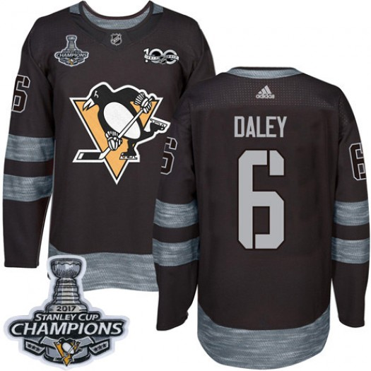 Trevor Daley Pittsburgh Penguins Men's Adidas Premier Black 1917-2017 100th Anniversary 2017 Stanley Cup Final Jersey