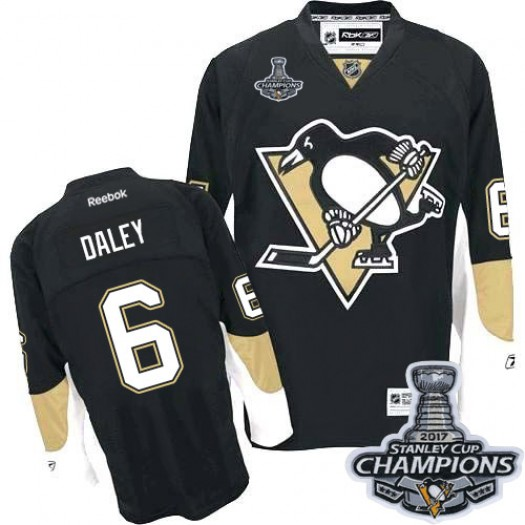 Trevor Daley Pittsburgh Penguins Men's Reebok Authentic Black Home 2017 Stanley Cup Final Jersey