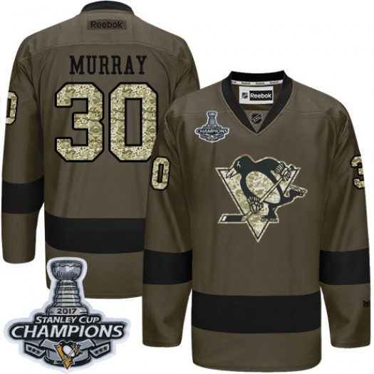 Matt Murray Pittsburgh Penguins Men's Reebok Authentic Green Salute to Service 2017 Stanley Cup Champions Jersey