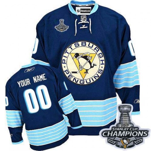 Men's Reebok Pittsburgh Penguins Customized Authentic Navy Blue Third Vintage 2016 Stanley Cup Champions Jersey