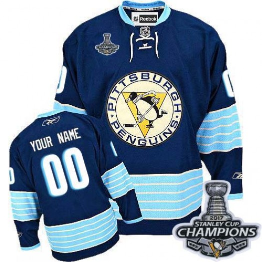 Men's Reebok Pittsburgh Penguins Customized Premier Navy Blue Third Vintage 2016 Stanley Cup Champions Jersey