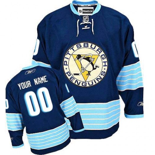 Men's Reebok Pittsburgh Penguins Customized Premier Navy Blue Third Vintage Jersey